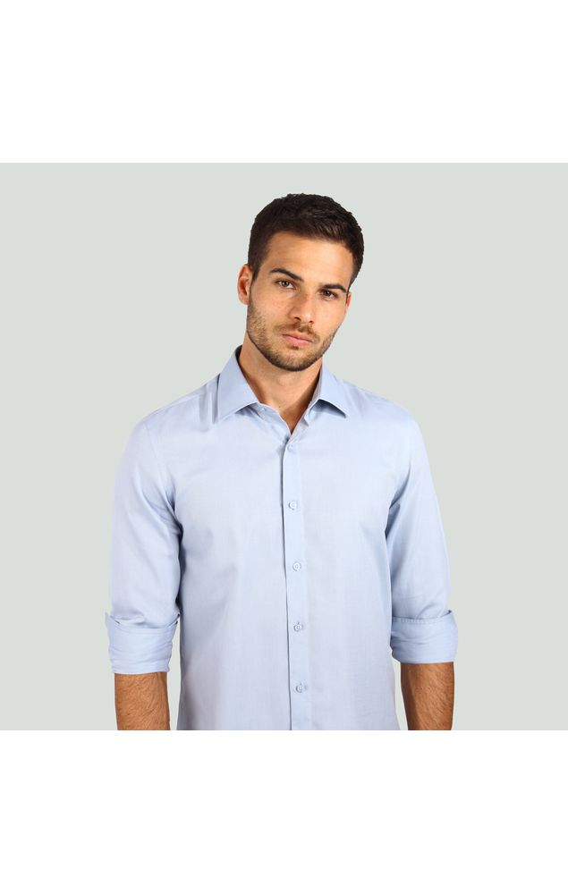 Camisa-Office-Ml-Texturizada-Azul